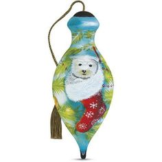 """Precious Moments """"Cozy Christmas Pup"""" Petite Brilliant Shaped Glass Ornament by Sarah Summers"""