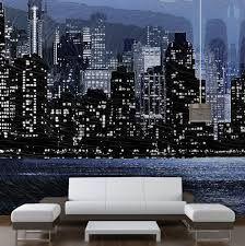 new york wall mural ideas in bedroom area with wood headboard