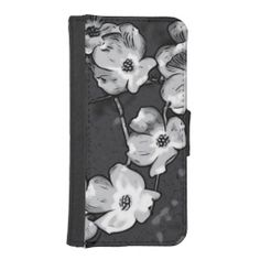 Black and White Dogwood Wallet Phone Case iPhone 5 Wallet Cases