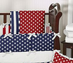 Red, White and Blue Americana Baby Bedding - 6 pc Crib Set - Click to enlarge