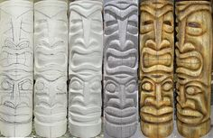 This photo grouping shows the process from start to finish. Foam sculpting to coating and coloring. This statue is covered with at concrete product, textured and colored with mineral and water base concrete stains. Foam Carving, Wood Carving Art, Water Based Concrete Stain, Tiki Totem, Tiki Tiki, Tiki Head, Tiki Statues, Carved Wood Wall Art, Whittling Wood
