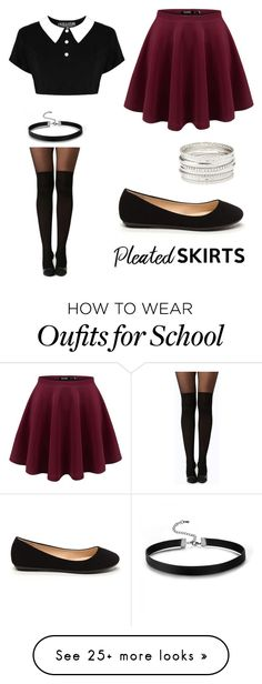 """School Girl"" by gilliansullivan on Polyvore featuring Boohoo, Charlotte Russe and pleatedskirts"