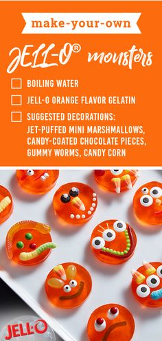 Make-Your-Own JELL-O® Monsters – Get creative with these Halloween treats! Featuring gummy worms, candy corn, marshmallows, and more, this fall recipe is sure to become a favorite. Halloween Crafts For Kids, Halloween Food For Party, Halloween Desserts, Halloween Birthday, Halloween Treats, Halloween Drinks, Halloween Stuff, Spooky Halloween, Appetizers