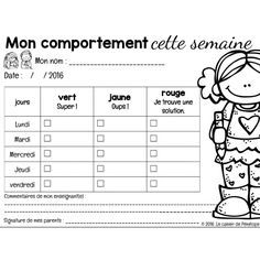 Comportement : fiche de consignationYou can find Teacher resources and more on our website. French Teacher, Teaching French, Behaviour Management, Classroom Management, Behavior Incentives, Education Positive, Teachers Corner, French Classroom, Teacher Organization