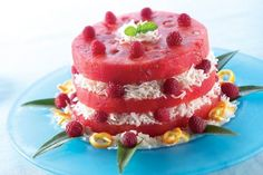 Joy of Desserts: Quick Easy, Fancy Watermelon Dessert Recipes Coconut Cake With Raspberry Filling Recipe, Raspberry Cake, Pavlova, Meringue, Pistachio Cake, Bowl Cake, Salty Cake, Watermelon Recipes, Watermelon Cakes