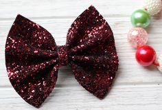 Burgundy Chunky Glitter Bow
