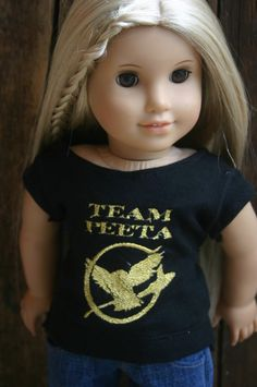 "Mini Me Dolly Divas/ Custom order  Team Peeta Mockingjay Hunger Games t-shirt  for  18"" dolls"