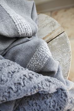 Plush texture + Soft Blue-Greys offset with rough, worn material = gorgeous combination