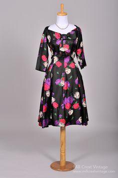 Vintage Mother of the Bride Dresses      1950's Suzy Perette Floral Printed Silk Vintage Cocktail Dress : Mill Crest Vintage