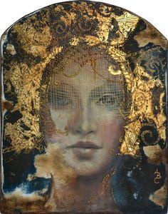 """Képtalálat a következőre: """"Angela Betta Casale"""" Woman Painting, Figure Painting, Mixed Media Canvas, Mixed Media Art, Art Magique, Mixed Media Faces, Kirigami, Portrait Art, Face Art"""