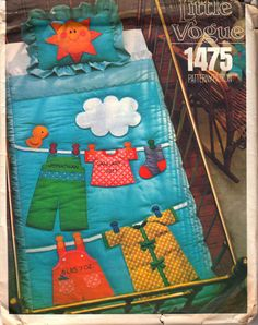 Vogue 1475 Clothes Line Crib Quilt Pillow Sham Pattern Clothespin Letter Number Transfers Vintage Sewing Pattern Baby Memory Quilt, Baby Quilts, Memory Quilts, Baby Patterns, Vintage Sewing Patterns, Block Patterns, Aplique Quilts, Baby Clothes Blanket, Quilted Pillow Shams
