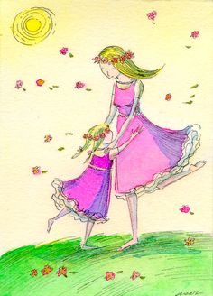 Original ACEO Painting  Dancing with mom by PainterNik