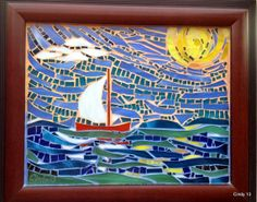 Sailboat, sunny caribbean sea in hand-cut stained glass mosaic, celebrating life in shiny colors .