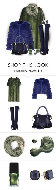 """""""Over-the-knee boots...Dark Blue & Olive Green (outfitonly)"""" by onesweetthing ❤ liked on Polyvore featuring Alice + Olivia, Stuart Weitzman, Chloé, Bohemia, Illamasqua and Kate Spade"""