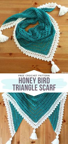 Honey Bird Triangle Scarf Free Crochet Pattern This is such a lovely design, perfect for beginners. It's made with soft emerald yarn with white trim a. One Skein Crochet, Crochet Scarves, Crochet Stitches, Crochet Borders, Crocheted Scarf, Crochet Cowls, Crochet Braid, Knitted Shawls, Knitting For Beginners