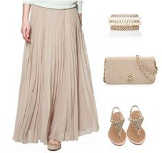 Nude Plain Pleated Ankle Straight Polyester Skirt - Skirts - Bottoms