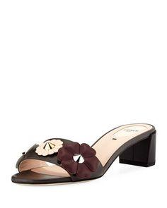 Flowerland Block-Heel Slide Sandal, Gray by Fendi
