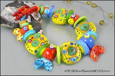 MICHOU  Lampwork Beads  Knotted handmade glass by MichouJewelry,