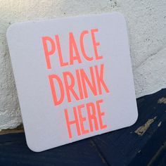 Neon letterpressed coaster coming soon to salty not sweet and the bust craftacular!