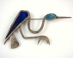 Vtg G Laffi Handmade Modernist Peruvian Sterling Silver Stone Inlay Bird Pin J | eBay