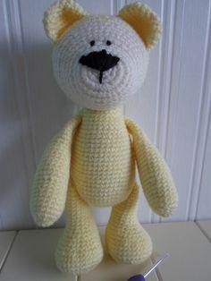 Handmade crochet yellow teddy bear by JennifersMakes on Etsy