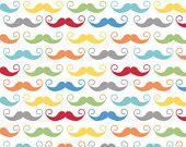Riley Blake Designs, Geekly Chic, Geekly Mustache White Fabric - REMNANT Size 33 Inches by 42 Inches