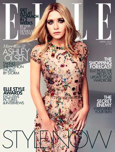 Ashley Olsen in a beautiful embellished dress on the cover of ELLE UK, 2012.