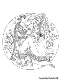 A Classical Design with a Woman Playing Music