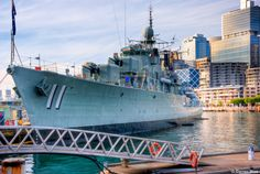 """HMAS Vampire, (Sydney, Australia) This is a great close up photo of HMAS Vampire, which is currently on display at the Australian National Maritime Museum at Darling Harbour, Sydney. I could only capture this angle as the """"NO Tripod"""" police were positioned on the other side. It was a little disappointing that HMAS Onslow which is an Oberon class submarine was not docked next to it as it sometimes is."""