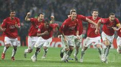Ryan Giggs, Cristiano Ronaldo, Michael Carrick and Owen Hargreaves of Manchester United celebrate after the penalty shoot-out, winning the UEFA Champions League Final match between Manchester United and Chelsea at Luzhniki Stadium on May 21 2008 in Moscow, Russia. (Photo by Matthew Peters/Manchester United via Getty Images)