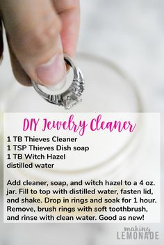 Lots of homemade cleaners contain harsh chemicals that can actually damage jewelry, try this DIY natural jewelry cleaner instead! A quick soak and your bling will be shiny and like new.