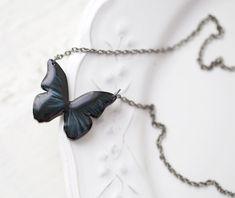 Black Butterfly necklace N001 van BeautySpot op Etsy