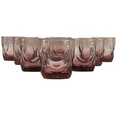 Pre-Owned 1970s Pink Rocks Glassware S/9 (235 CAD) ❤ liked on Polyvore featuring home, kitchen & dining, drinkware, pink, pink glassware, rocks glassware, pink tumbler, 1970s glassware and old fashioned glassware