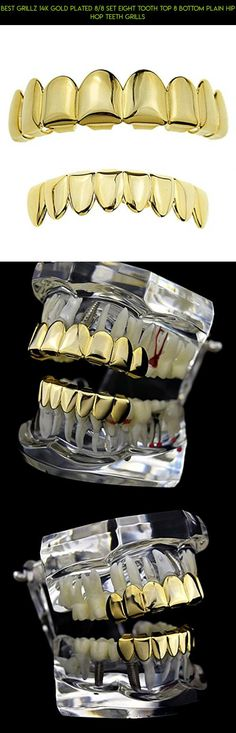 Best Grillz 14K Gold Plated 8/8 Set Eight Tooth Top 8 Bottom Plain Hip Hop Teeth Grills #products #camera #plans #technology #racing #tooth #tech #parts #shopping #gadgets #grills #8 #fpv #kit #drone
