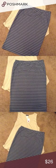 "Plus size pencil skirt. Stylish and comfort . Plus size 1X Navy blue striped pencil skirt with elastic waist that stretches from 15"" to 18"". Length is 26"". Fabric is 58% Cotton/ 42% Polyester Caren Sport Skirts Pencil"
