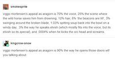 """""""Viggo Mortensen's appeal as Aragorn is 90% the way he opens doors."""""""