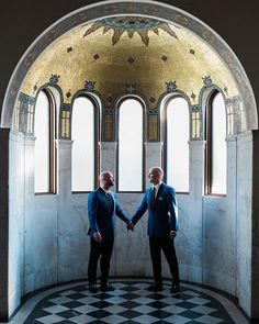 Our handsome grooms in Vibianas Golden Dome. (Venue: @vibianaevents / Food  Beverage: @nealfraser @tobinshea /  Planning: Kate Piliero / Photography: @derekchadphoto / Florals: @thelittlebranch / Rentals: @foundrentals / Linens: @luxe_linen / Entertainment: @brotherslandau @dashweddings / Photobooth: @amusebooth)