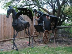 Halloween undead horse, reaper driver & hearse HF member dave the dead