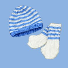 Hand knitted premmie hat/beanie and booties set.  Available in  3 sizes: up to .91kg, up to 1.36kg and 1.8-2.7kg  http://premmieto2.com.au/product/premature-baby-clothes-striped-beanie-booties-bluewhite/