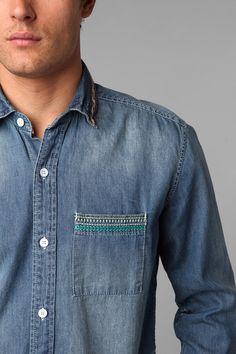 4aff56b386f Urban Outfitters Koto Sashiko Denim Shirt in Blue for Men (LIGHT BLUE)