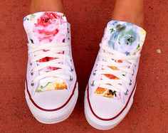 Floral Converse Shoes by LoveChuckTaylors on Etsy