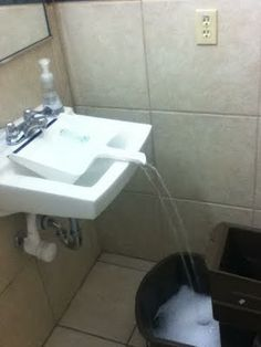 Fill a pail too big to fit in your sink with a dustpan *wow, why didn't I think of that? face/palm