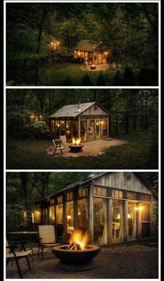 tiny house tucked in the woods The Glass House / The Green Life Style At Home, Cabin In The Woods, Cabins And Cottages, Small Cottages, Tiny Cabins, Log Cabins, Small Houses, Green Life, Little Houses