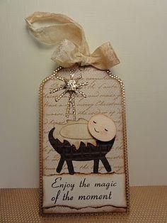 punch art nativity tag