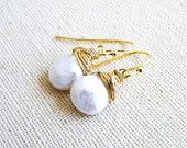 White Coin Pearl Gold Earrings Smooth Organic Baroque Briolette Dangle Earrings - GemE10GoldWedding Jewelry