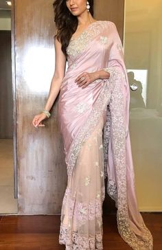 Naagin promotions 😬❤️🌸 Thanku once again In this beautiful saree by Jewellery by Chiffon Saree, Lace Saree, Satin Saree, Saree Dress, White Saree, Net Saree, Indian Fashion Trends, Indian Designer Outfits, Indian Beauty Saree