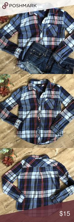 BDG from Urban Outfitters Button Down Flannel XS Dark blue with red, black, and white plaid button down shirt by BDG of Urban Outfitters.  Super soft, great as a layering piece or tied around your waist. Pair with jean shorts and cowboy boots for country jam cuteness! Worn a few times, in good used condition no flaws. Size XS. Measurements provided on request. Smoke free seller. Shorts pictured for sale in my closet. Urban Outfitters Tops Button Down Shirts