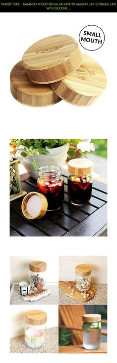 Timber Tops - Bamboo Wood Regular-Mouth Mason Jar Storage Lids with Silicone ... #camera #parts #fpv #with #storage #technology #racing #drone #products #lids #gadgets #jars #shopping #plans #tech #kit