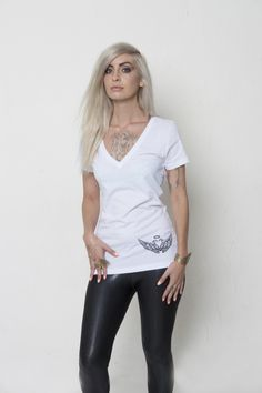Available Now at: triaprimastore.com 100% Lightweight Cotton  Small, Medium, Large & XL Infused with Positive Energy for Empowerment, Protection & Love with the (Wings) V-Neck by SPiRiTUS OCCULTUM.  spiritusoccultum.com