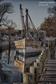A boat at the docks in West Sayville.  Photo by Tim Butler.